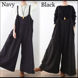 Brand New Striped Casual Loose Wide Leg Jumpsuit